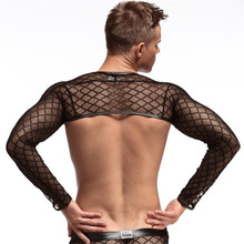 Men's Sexy Long Sleeve Shirt,Breathable Mesh T-Shirts,Sexy Mesh Plaid Transparent T-Shirts Undershirts,Men's Sexy Underwear