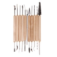 11 pcs Clay Pottery Sculpture Tool Stainless Steel and Wooden Handle Mini Pottery Ceramic Tools Set For Paint Sculpture