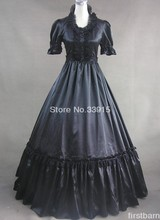 Black Gothic Victorian Dress Halloween Lace Decoration Prom Gown Dress Costume