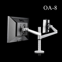 OA-8 Height Adjustable Double Arm Multifunction LCD Monitor+Tablet PC Stand Aluminum Rotating Holder for iPad Mini Air 9-10 inch