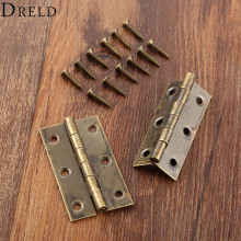 DRELD 2Pcs 50x28mm Furniture Cabinet Drawer Door Butt Hinge Antique Bronze Decorative Hinges for Jewelry Box Furniture Hardware(China)