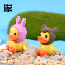 Cartoon Duck Family Mini Animals Model Terrarium Figurines FaIry Garden Miniatures Kawaii Desktop Accessories