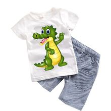 2PCS Suit Baby Boy Clothes Children Summer Toddler Boys Clothing set Cartoon 2017 New Kids Fashion Cotton Cute Animal Sets T20
