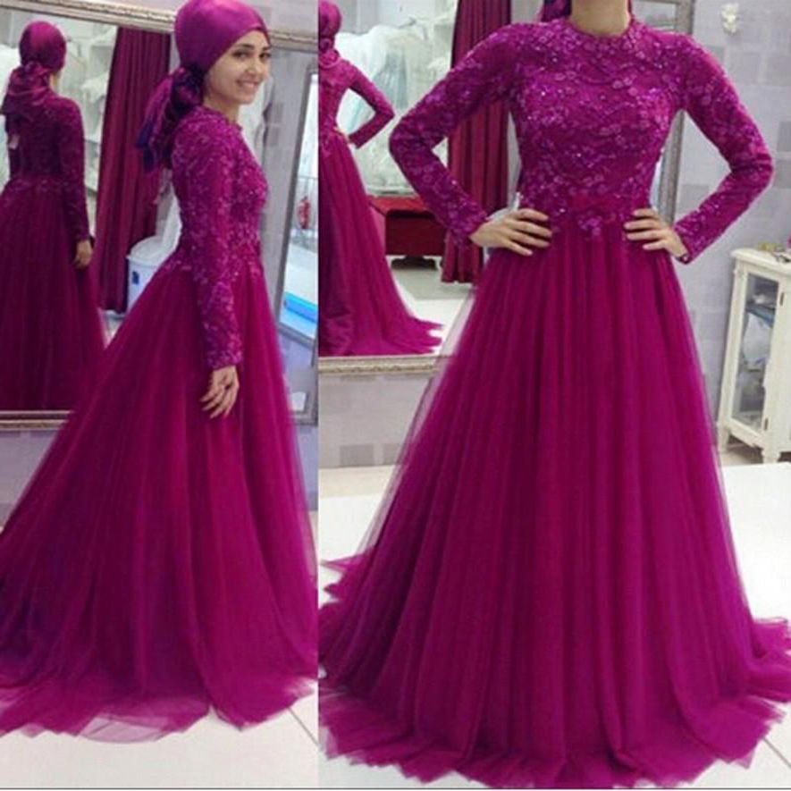 Long Sleeve Muslim Evening Dresses 2017 Fuschia Lace Prom Gowns A-Line Tulle Sweep Train Plus Saudi Arabia Party Evening Gowns