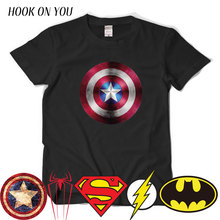 Comic LOGO Super Hero T Shirt Superman Batman Captain America the Flash Marvel Movie Men Cosplay T-Shirts superhero Geek Tee(China)