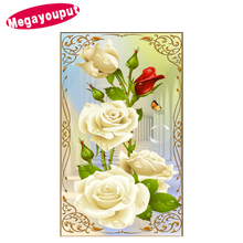 5D Diy Diamond Painting Cross Stitch white Rose picture 3d Diamond Embroidery Flower diamond mosaic Home Decor Needlework