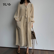 2019 Nouveau Printemps Femmes Coréennes Simple Longue Robe Mode Taille En  Velours Côtelé Robes Dames Noir 17455f44026