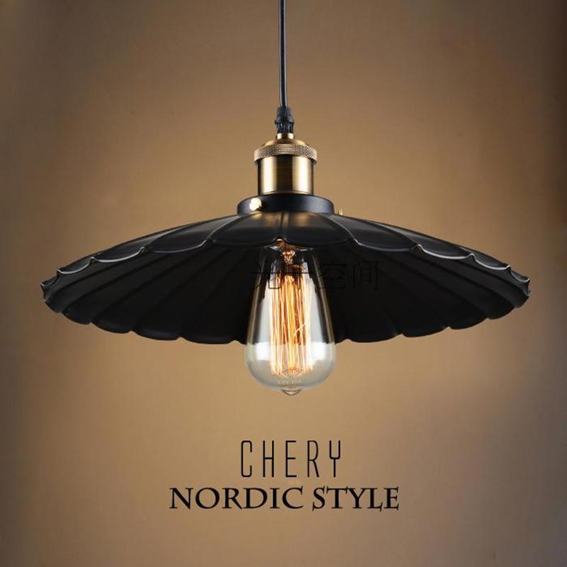 modern Pendant lighs umbrella Iron Retro lighting fixtures Industrial Style lamparas de techo light vintage Edison Pendant lamp<br>