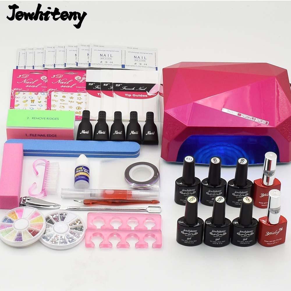 Nail art Set UV LED Lamp dryer 6 Color nail Gel polish uv gel varnish Nail Polish top base coat manicure tools set nail kits<br>