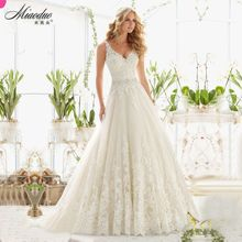 Vestido De Noiva New Design A-Line Lace Wedding Dresses 2017 V-Neck Beaded Sash Backless Sexy Vintage Wedding Gowns