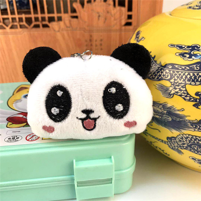 Fashion Panda Emoji Plush Toys Key Chain Ring Pom Bear Keychain Woman Bag Charms Man Car Keyring Wedding Party Trinket Jewelry (26)_