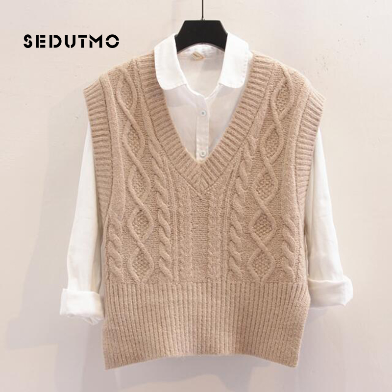 SEDUTMO Autumn Crochet Women Vest Sweater Pullovers Knitting Top Vintage Short Jumper Winter Oversize Waistcoat Sweater ED358
