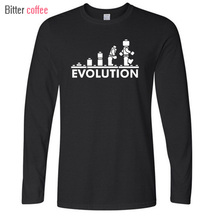 New LEGO Robot EVOLUTION T Shirt Funny Printed Sheldon Cooper T Shirts Men long Sleeve O-Neck Cotton Men Clothing Tops
