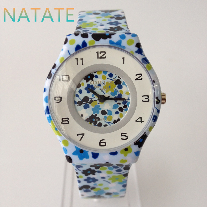 NATATE Women Flowers Watch Casual Watch Willis Quartz Fashion Design Water Resistant Wrist Watch with Slim Silicone Band 0840<br><br>Aliexpress