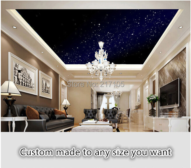 Customize the Milky Way Star Wallpapers for ceiling bedroom background wall interior decoration fresco vinyl wallpaper<br><br>Aliexpress