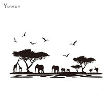 YunXi Creative African Animal Elephant Silhouette Sticker Bedroom Bedside Sofa Wall Decoration Wall Wallpaper Pvc Wall Stickers(China)