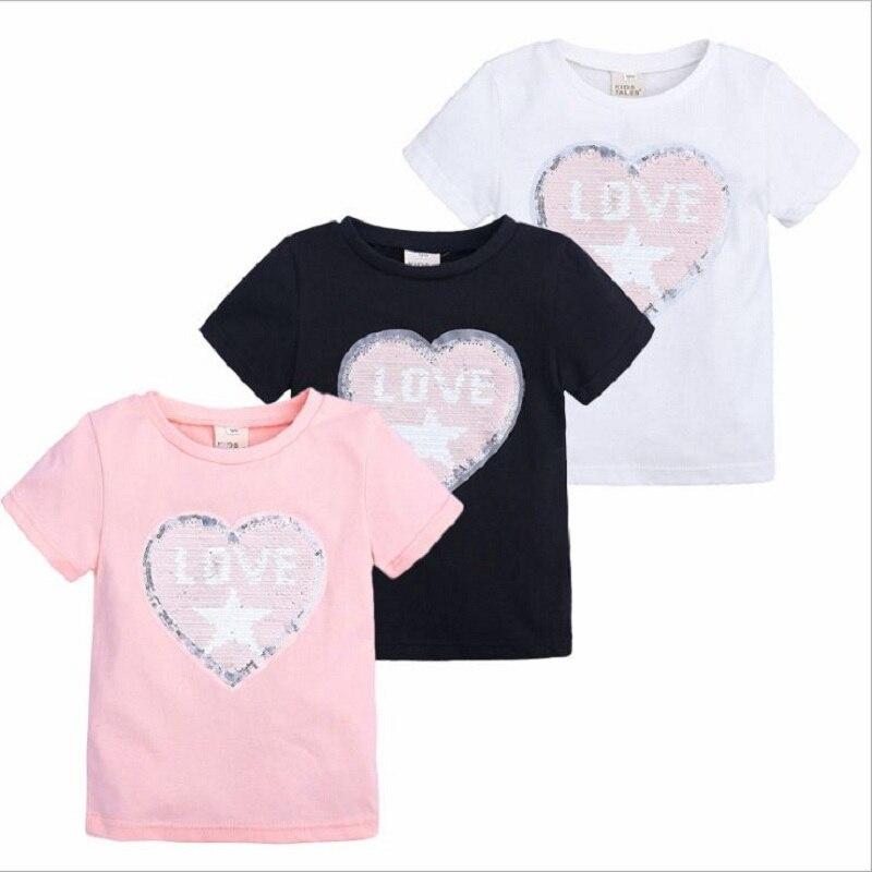 girls t-shirt summer top short sleeve clothes kid girl t shirt 2019 tshirt Love letter sequined child toddler white black pink