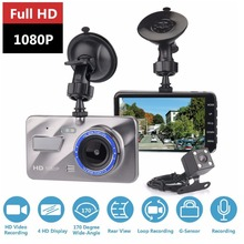 Buy Dash Cam New Dual Lens Car DVR Camera Full HD 1080P 4 IPS Front+Rear Blue Mirror Night Vision Video Recorder Parking Monitor for $30.99 in AliExpress store