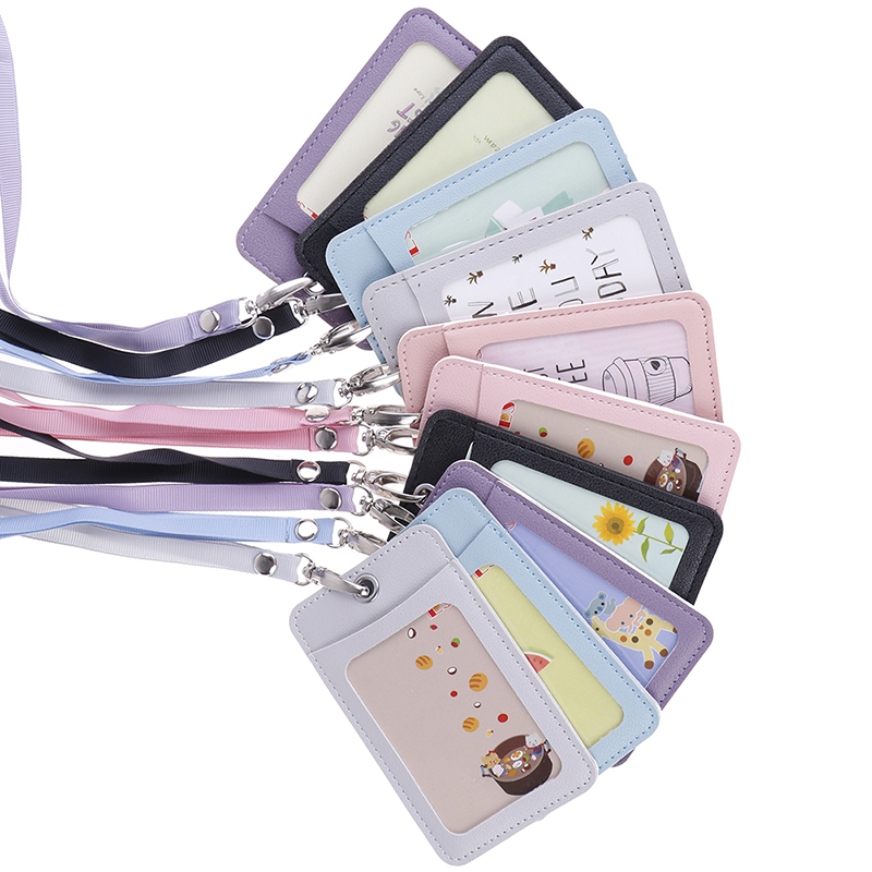 Women Students Bus Card Case Cartoon Candy Leather Card Holder Lanyard Girl Cute Rabbit Door Work Identity Badge 2 Cards Cover