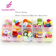 Lucia Crafts 120pcs/box 8-20mm Mixed Plastic Buttons 2-Holes Children's Scrapbook Sewing DIY Craft Accessories 004010056(China)