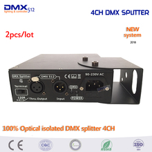 DHL Free shipping 2pcs Stage Lighting Controller 100% Optical isolated DMX splitter 4CH dmx splitter(China)