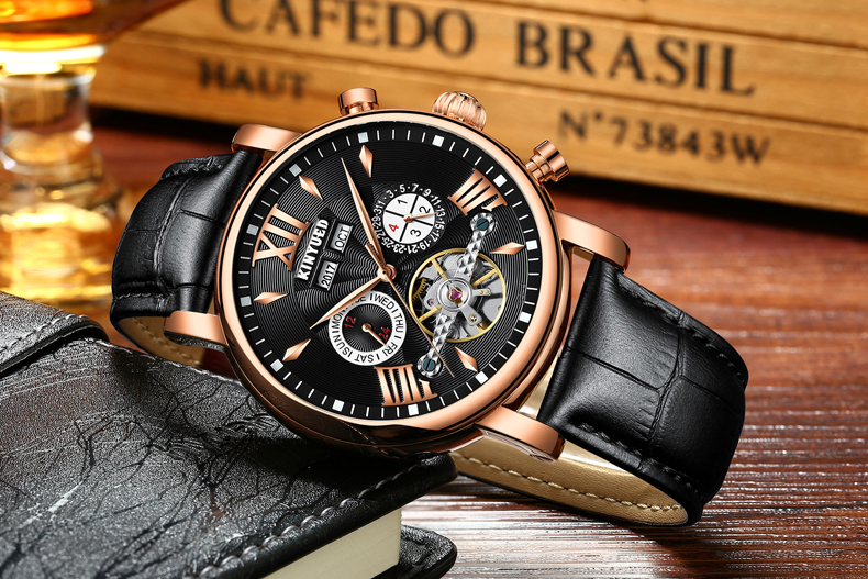 KINYUED Flying Tourbillon Watch Skeleton Men Leather Waterpoof Business Calendar Mens Mechanical Watches Automatic montre homme 10