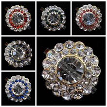 20pcs 30mm Round Metal Crystal Rhinestone Button Clear Rose Lt siam Sapphire Montana Emerald Fuchsia Stones Centerpiece DIY Make