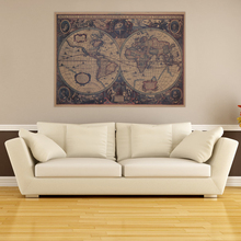 Large Vintage World Map Wall Sticker Decal Vinyl Retro Paper Map Poster National Geographic Map of the World for Kids Room