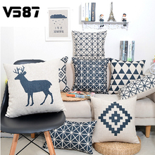 45x45cm Geometric Linen Pillow Cover Square Waist Throw Cushion Case Bed Home Square Pillowslip Hot