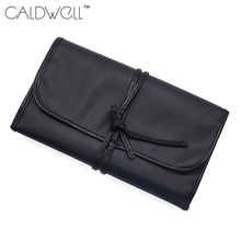 CALDWELL black 10 Pockets Makeup Brush Bag Artist Holder Women Cosmetic Leather Bag Organizer Black Zipper Case(China)