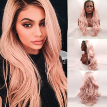 Fashion Cheap Wigs Kylie Jenner Hot Style Hair Natural Long Body Wave Synthetic Lace Front Wig Glueless Pink Hair Wigs