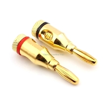 High quality large current copper Gold-plated 4mm banana plug for power amplifier audio system plug 2pcs/lot