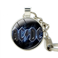 Classical POP Band Souvenirs Gifts ACDC Pendant Keychain Fashion Zinc Alloy AC/DC Key Buckle Chain