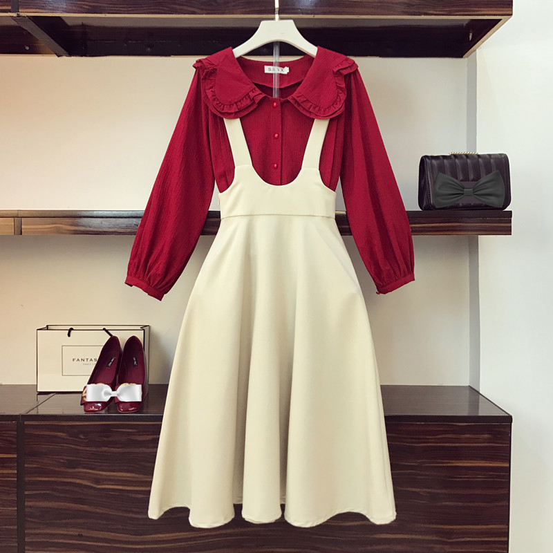2019 Women Fashion Dress Suit Ladies Party Dress Vestidos Spring Two-piece Set Doll Collar Shirt +Middle Long Belt Skirt A791