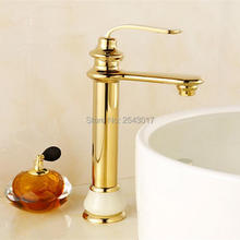 New Arrival Basin Gold Faucet Countertop Copper Brass Marble Stone Finish Deck Mounted Single Handle Torneira Banheiro ZR487