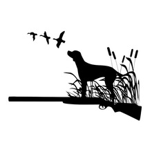 16*10.8CM Hunting Dog Car Stickers Waterproof Vinyl Decal Car Styling Bumper Accessories Black/Silver S1-0823(China)