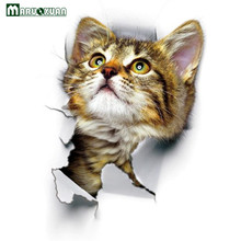 Maruoxuan 2017 New Arrivals 3D Pet Cat Wall Stickers Cabinet Glass Bathroom Toilet Stickers  Creative Pet Decor PVC Stickers