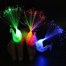 10pcs Peacock Finger Night Lights Color Led Lamp Kids Optical Fiber Finger Light Educational Plastic Finger Toy