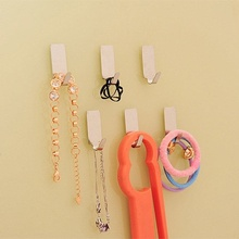 Best Selling 6Pcs Stainless Steel Self Adhesive Stick Wall Hook Hanger Bathroom Kitchen Door Convenient Hook High Quality
