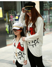 Matching Mother Daughter Clothes Family Look Kitty Cat Girl And Mother Clothing Mommy and Me clothes Family Outfit Ma e Filha(China)