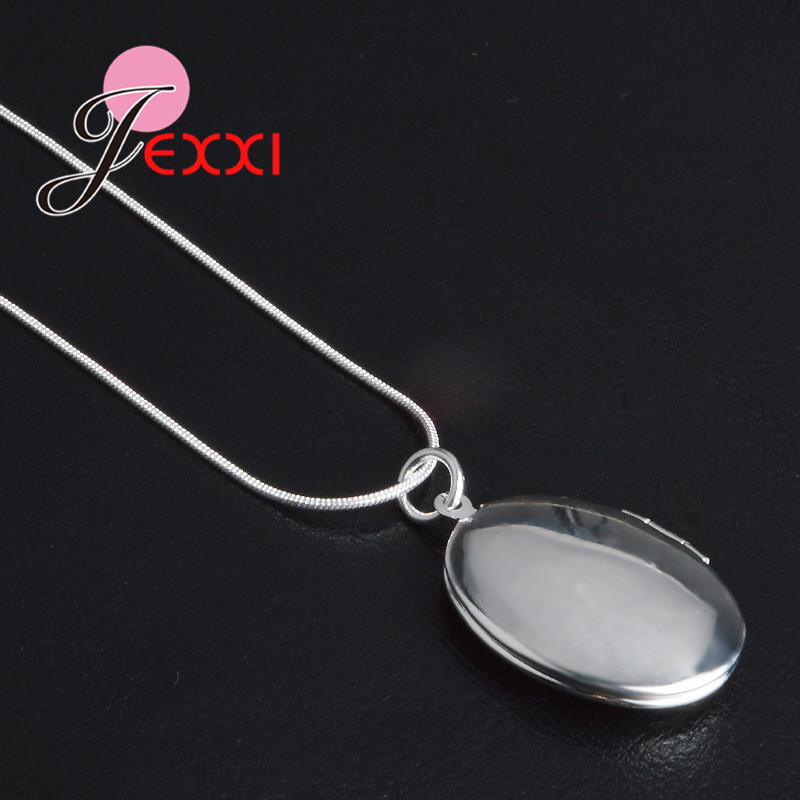 Elegant Retro 925 Sterling Silver Necklace Round Open Locket Pendant Necklaces Photo Women Collar Jewelry