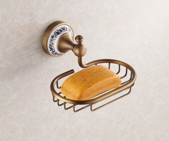 Antique Brass with ceramic Soap Holder bathroom shelf Copper Soap Dishes Soap basket bathroom accessories banheiro accessories<br>