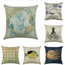 45cm*45cm Marine life pattern guidon linen cotton pillow case sofa cushion cover  animal design square decorative pillow cover