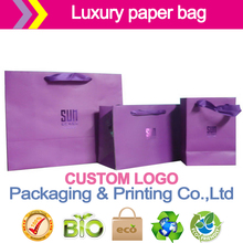Luxury purple paper bag Glossy/matte lamination, hot stamping, Uv coating, Varnish. Embossing packaging paper bag