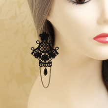 XuanRan HOT Fashion Street Women Girl Black Lace Chandelier Drop Earrings Vintage Gothic Victorian Style Classic Jewelry Gift