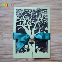 10pcs/lot with envelop laser cut lace wedding cards new classic sample bow invitation card with ribbon and buckle