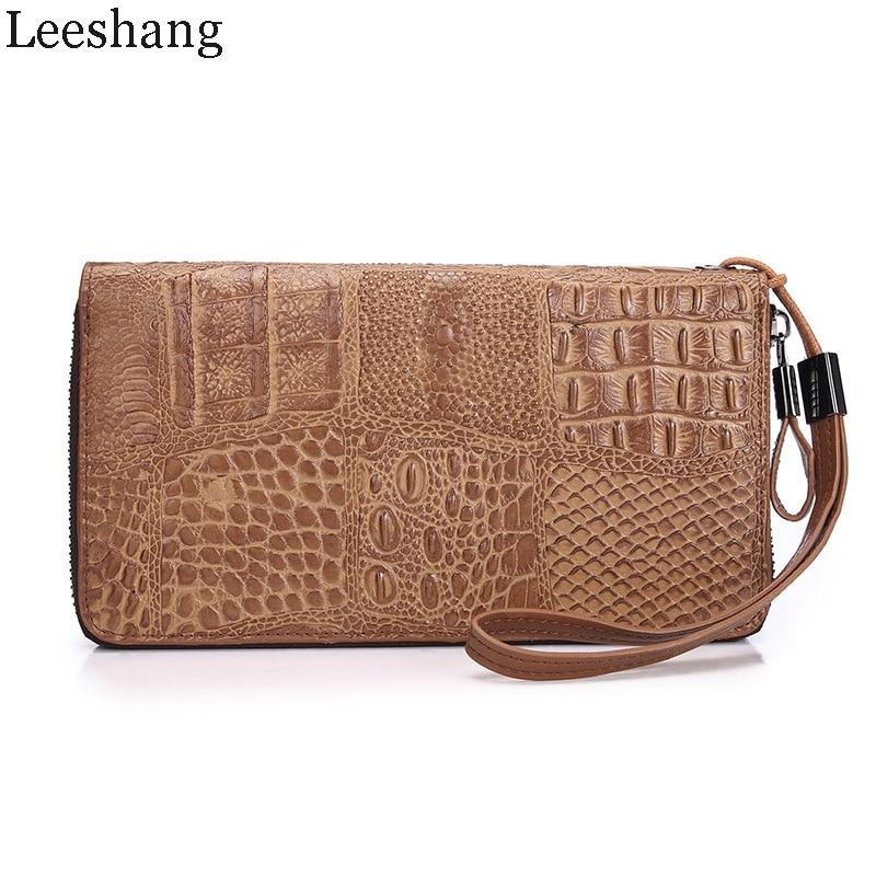 Leeshang Men Wallet Genuine Cow Leather Alligator Vintage Wallets Men High Zip Wallet Business Man Clutch Bag Top Quality Purse<br>