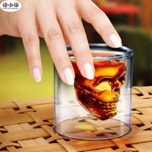 Doomed Transparent Crystal Skull Head Shot Glass Cup Whiskey Wine Beer Tea Vodka Creative Home Bar Party Glasses Drinking Ware(China)