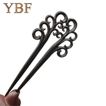 YBF Fashion Jewelry Hairwear Hair Sticks Wooden Ebony Double Prong Hairpins Barrettes Bobby Cutely Flexible Japanese Hairstyle(China)