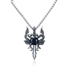 Male Necklace Stainless Steel Double Dragon Cross Sword Pendant Necklace for Men Antique Silver Vintage Punk Animal Bike Jewelry